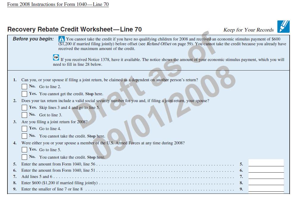 Recovery Rebate Credit Worksheet Tax Guru Kertetter Letter